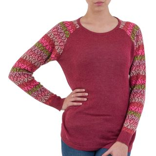Handmade Acrylic Cotton Blend 'Garden Vine in Wine' Sweater (Peru)