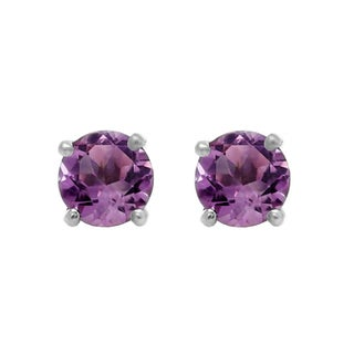 Elora 10k White Gold Round-cut Amethyst Solitaire Stud Earrings