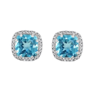 Elora 14k Gold 2 3/8ct TGW Blue Topaz and White Diamond Accent Halo Style Stud Earrings (I-J, I2-I3)