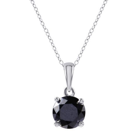 Divina Sterling Silver 1 1/2ct TDW Black Diamond Solitaire Pendant. - n/a