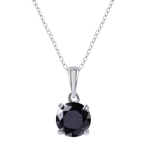 Divina Sterling Silver 1 1/2ct TDW Black Diamond Solitaire Pendant.