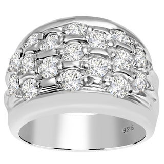 Orchid Jewelry 925 Sterling Silver 2 5/9 Carat White Topaz Pave Band Ring