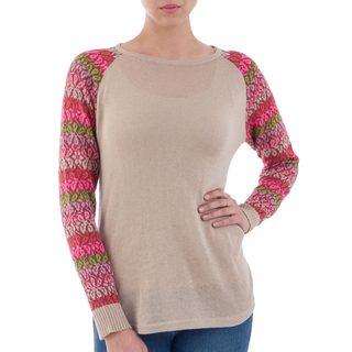 Handcrafted Acrylic Cotton Blend 'Garden Vine in Pale Beige' Sweater (Peru)