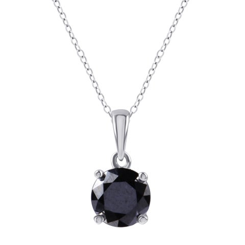 Divina Sterling Silver 2ct TDW Black Diamond Solitaire Pendant. - n/a