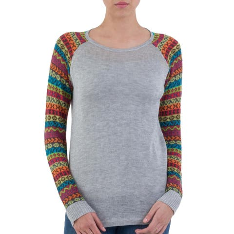 Handmade Acrylic Cotton Blend 'Cusco Market in Ash Grey' Sweater (Peru)