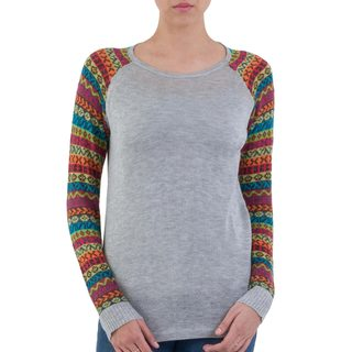 Handcrafted Acrylic Cotton Blend 'Cusco Market in Ash Grey' Sweater (Peru)