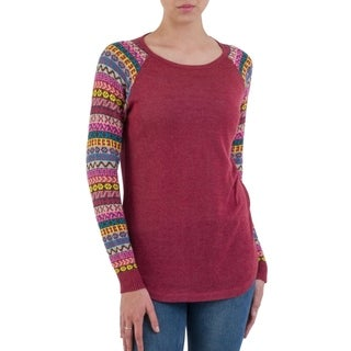 Handcrafted Acrylic Cotton Blend 'Andean Walk in Wine' Sweater (Peru)