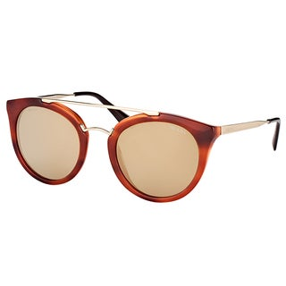 Prada PR 23SS USE1C0 Cinema Striped Brown Plastic Round Sunglasses with Gold Mirror Lens