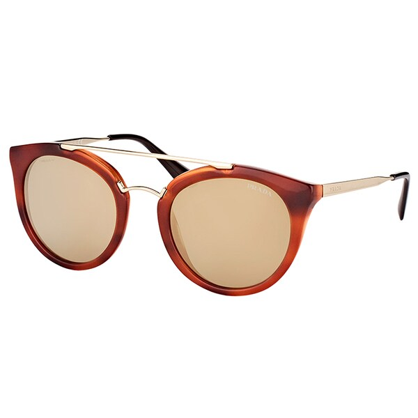 d04a2c9179747 Prada PR 23SS USE1C0 Cinema Striped Brown Plastic Round Sunglasses with Gold  Mirror Lens