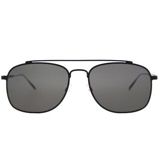 Tomas Maier tm7 001 Navigator Black Metal Aviator Sunglasses with Black Lens