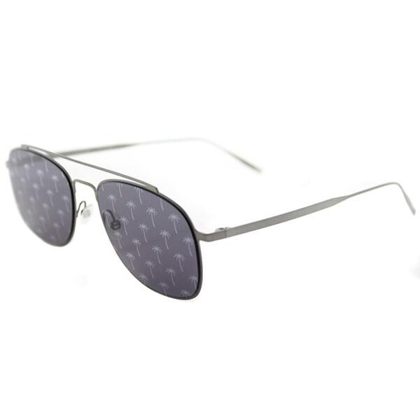 7d4d03059 Tomas Maier tm7 005 Navigator Silver Metal Aviator Sunglasses Blue Mirror  Palm Lens