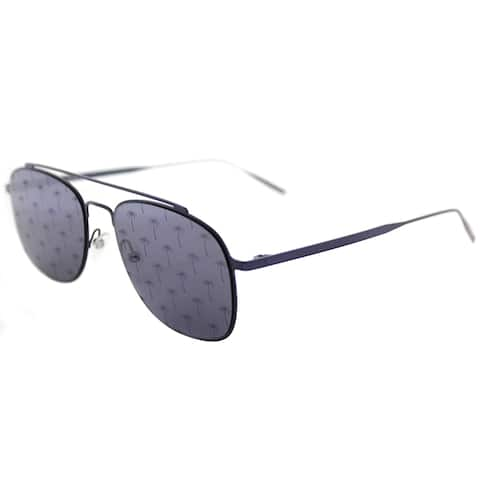 Tomas Maier tm7 007 Navigator Blue Metal Aviator Sunglasses with Blue Mirror Palm Lens