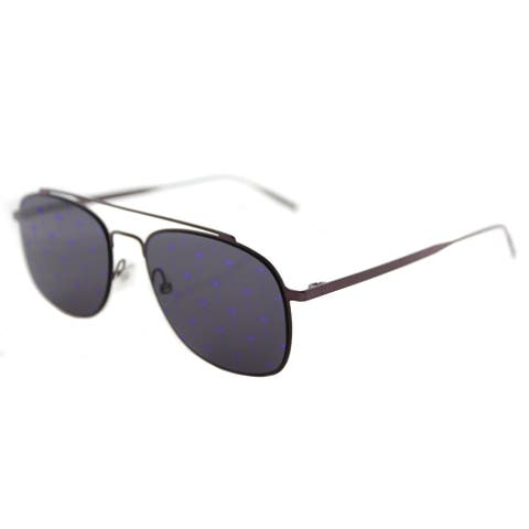 Tomas Maier tm7 008 Navigator Violet Metal Aviator Sunglasses with Violet Mirror Palm Lens