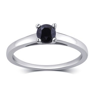 Divina Sterling Silver 1/2ct TDW Black Diamond Engagement Solitaire Ring