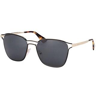 Prada PR 54TS 1AB5S0 Black Pale Gold Metal Square Sunglasses with Grey Lens