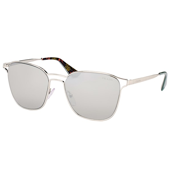 889332b7a7 Prada PR 54TS 1BC2B0 Silver Metal Square Sunglasses with Silver Mirror Lens