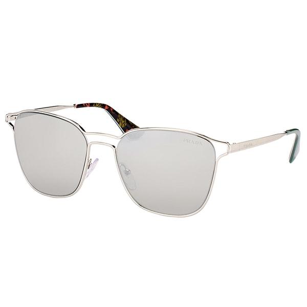 648e05b89 Prada PR 54TS 1BC2B0 Silver Metal Square Sunglasses with Silver Mirror Lens