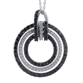 Sterling Silver 1ct TDW White and Black Diamond Pendant (I-J, I2-I3)