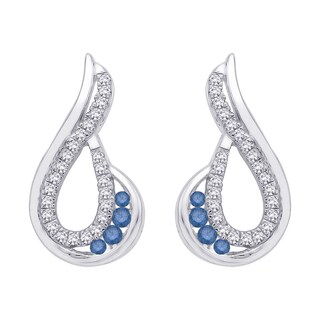 10K White Gold 1/3ct TDW Blue and White Diamond Fashion Earrings (G-H, I2-I3)