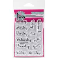 Pink & Main Clear Stamps 3X4-Week Script