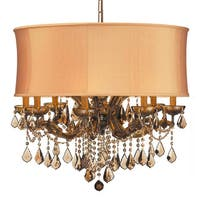 Crystorama Brentwood Collection 12-light Antique Brass/Golden Teak Swarovski Strass Crystal Chandelier