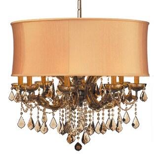 Crystorama Brentwood Collection 12-light Antique Brass/Golden Teak Swarovski Strass Crystal Chandeli