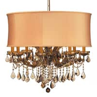Crystorama Brentwood Collection 12-light Antique Brass/Golden Teak Crystal Chandelier - Gold