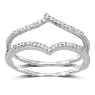 Unending Love 14k White Gold 1/6ct TDW Diamond Anniversary Double Band Ring Guard