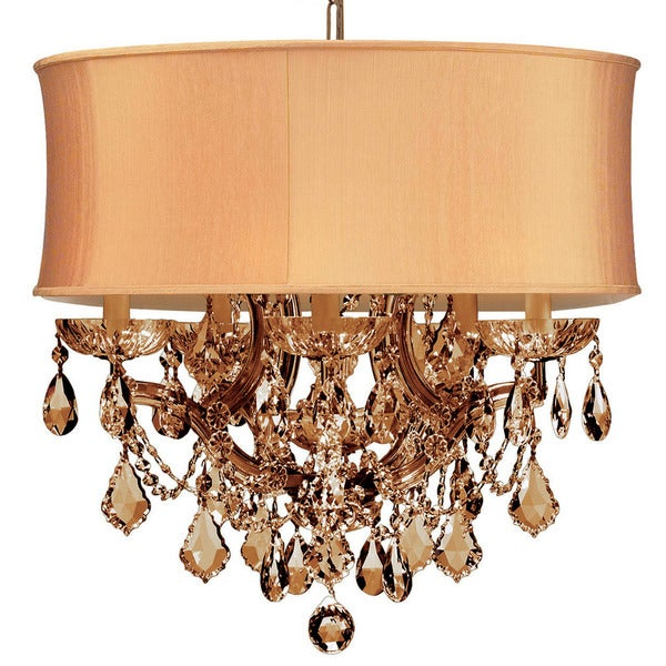 Crystorama Brentwood Collection Light Antique BrassGolden Teak - Strass chandelier crystals