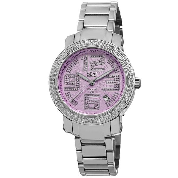 Burgi Women's Diamond Crystal Stainless Steel Purple/ Silver-Tone Bracelet Watch