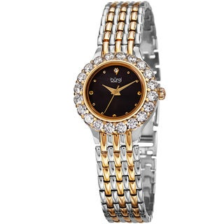 Burgi Women's Classic Crystal Black/Two-Tone Bracelet Watch with FREE GIFT