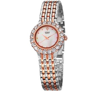 Burgi Women's Classic Crystal White/Two-Tone Bracelet Watch