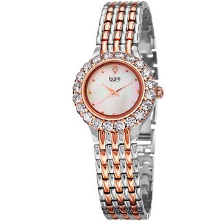 Burgi Women's Classic Crystal White/Two-Tone Bracelet Watch