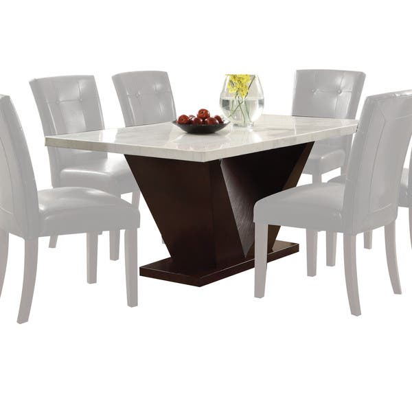 Acme Furniture Forbes White Marble And Walnut Dining Table Overstock 14412232