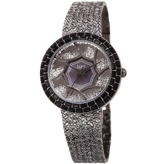 Burgi Women's Emerald-Cut & Floating Crystals Black Brass Bracelet Watch with FREE GIFT