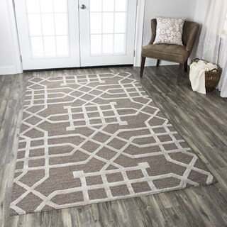 Hand-tufted Caterine Taupe-tan Wool Trellis Area Rug ( 2' x 3' )