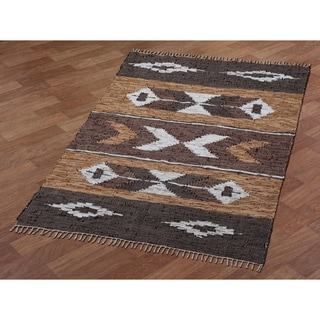 Brown Matador Leather Chindi Rug (5x8')