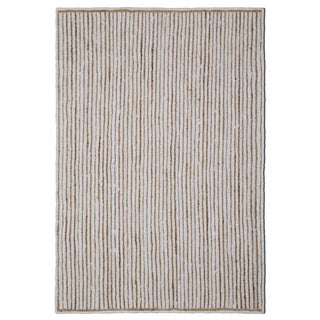 "Natural Jute & White Cotton Racetrack Rug (30x50"")"