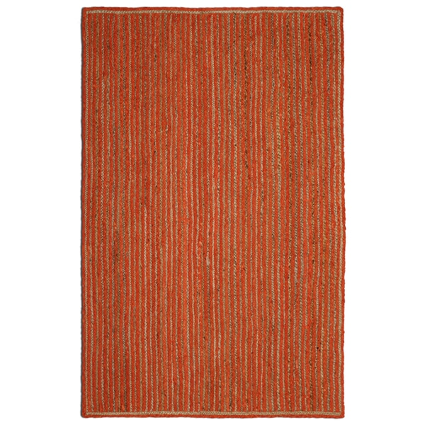 "Natural Jute & Orange Cotton Racetrack Rug (30x50"")"