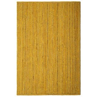 "Natural Jute & Yellow Cotton Racetrack Rug (21x34"") - 1'9"" x 2'10"""