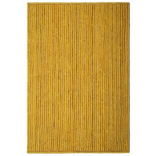 "Natural Jute & Yellow Cotton Racetrack Rug (21x34"")"