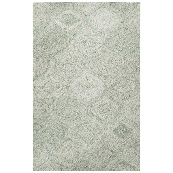 Brindleton Hand-Tufted Green Trellis Wool Area Rug (8' x 10')