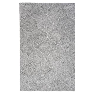 London Hand-Tufted Grey Trellis Wool Area Rug (9' x 12') - 9' x 12'