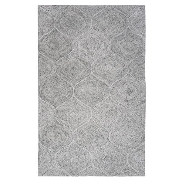 Brindleton Hand-Tufted Grey Trellis Wool Area Rug (9' x 12')