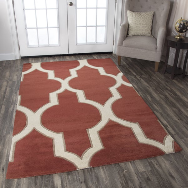 Volare Hand-Tufted Red Trellis Wool Rug (2' x 3')