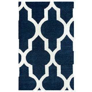 Hand-tufted Volare Navy Wool Trellis Area Rug ( 2' x 3' )