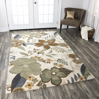 Pandora Collection Hand-Tufted Khaki Floral Wool Rug (2' x 3')