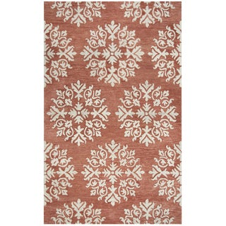 Hand-tufted Leone Coral Wool Medallion Area Rug ( 2' x 3' )