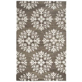 Hand-tufted Leone Brown Wool Medallion Area Rug ( 2' x 3' )