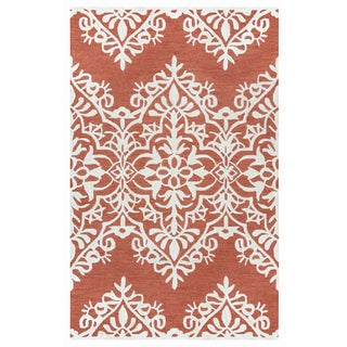 Hand-tufted Caterine Red Wool Ornamental Area Rug ( 2' x 3' )
